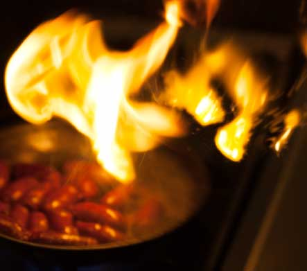 Flames while cooking